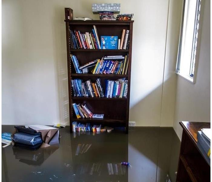 Bookshelf and books partially submerged in dirty brown water from flooding