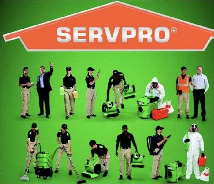 SERVPRO logo and image of technicians